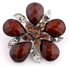 Ladies Brown and Silver Five Petal Flower #Brooch & Pin Pendant with Stones