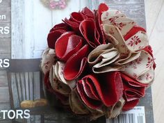 Fabric Flower Pin/Brooch Set of 2  Red and by Vintage50sTreasures