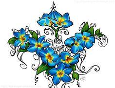 Blue Fire Plumeria Tattoo by styx-leagon on DeviantArt
