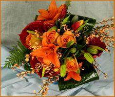 Orange bouquet. Gordon Florist Baltimore Wedding Bouquets, Wedding Flowers, Baltimore, Special Day, Floral Wreath, Wreaths, Table Decorations, Orange, Home Decor