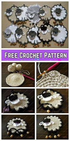 Crochet Sheep Free Pattern, Crochet Patterns Amigurumi, Crochet Motif, Crochet Designs, Crochet Yarn, Free Crochet, Crochet Appliques, Crochet Sloth, Crochet Garland