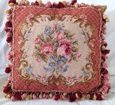 Vintage Needlepoint Rose Flower Pillow by GailsVintageGarden, $42.00