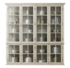 Bookcase With Glass Doors, Glass Cabinet Doors, Cabinet Decor, Glass Shelves, Hutch Cabinet, Book Cabinet, Glass Sideboard, Cocina Office, Glass Kitchen Cabinets