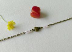 bracelet petit cœur et perles de verre