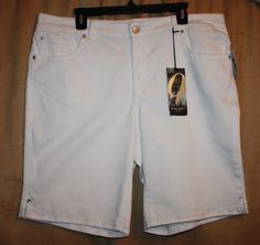 Women's Sizes 16W or 20W Stretch White Denim Shorts Embelished Pockets Nine West NEW | eBay