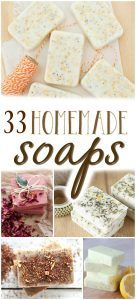 Looking for a few new favorite homemade soap recipes? Learn how to make homemade soap with these 33 super recipes! Detergent, bar soap, body wash and more!