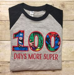 100 days of school shirt superhero school by DoubleStitchDesigns1