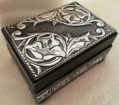Small Trinket Box covered with cut offs. https://www.facebook.com/pewterboutique