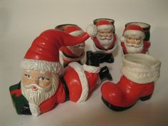 Christmas Santas and Boot Vintage Ceramic Set Fun Holiday Decorations and Candle Holders  SPECIAL HOLIDAY PRICE  Order Early. $5.95, via Etsy.