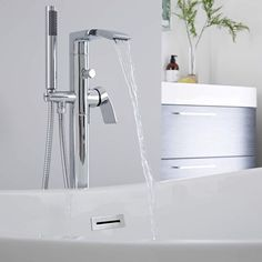 The Milano Razor freestanding bath shower mixer tap will add contemporary style to any bathroom Bathroom Shop, Bathroom Taps, Big Bathrooms, Bathroom Inspo, Bathroom Inspiration, Modern Bathroom, Bath Shower Mixer Taps, Bath Taps, Waterfall Taps