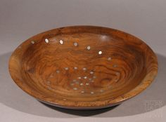 Elm bowl with inlayed Pewter dots.