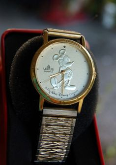 Vintage Mickey Mouse Watch Gold Coin Lorus on Etsy, $39.95