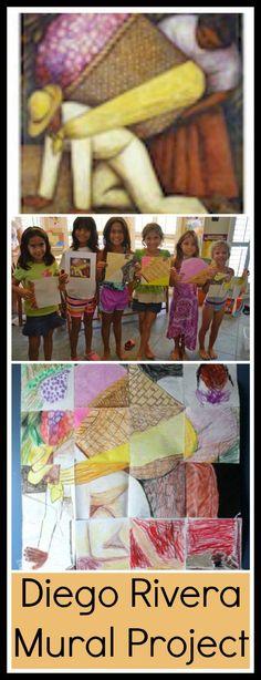 Diego Rivera Lesson Plan- Kid World Citizen - Create mural as a class using 1 inch square grid - Read lectura about Diego Rivera and then create mural