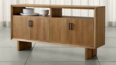 Monarch Natural Solid Walnut Large Sideboard | Crate and Barrel
