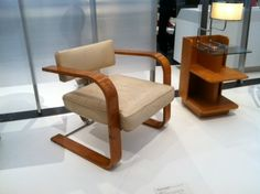 This is the nicest chair I've seen in long time. Circa1931 designer Richard Neutra. I love these bentwood or metal chairs that rock.  I've had a few.  See more at the link about the exhibition running through June at the Los Angeles County Museum of Art called Living in a Modern Way: California Design 1930-1965 curated by Wendy Kaplan.""