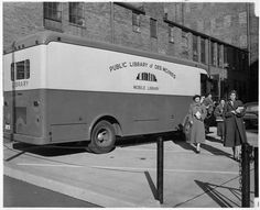 Bookmobile on its regular route, 1950's
