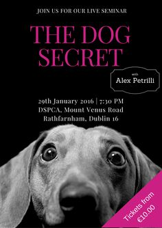 In this brand new event for 2016 Alex will bring you inside the fabulous world of the dog's mind. He will help you discover in a magical way the best kept dog secret of thousands of years    Transform your Dog relations and your life together  https://www.eventbrite.com/e/the-dog-secret-tickets-20094194276