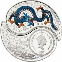 "Mint of Finland has produced Fiji $1 Silver Proof ""Dragon Yin and Yang"" coin."