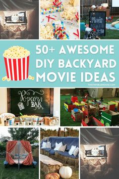 Host an incredibly outdoor movie night with these 50+ genius ideas. From screens and projectors to decor and even food we've collected the BEST outdoor movie night ideas for you! Backyard Movie Party, Backyard Movie Nights, Outdoor Movie Nights, Movie Night For Kids, Movie Night Party, Outdoor Movie Screen, Hot Dog Bar, Preschool Activities, Diy Projects