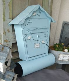 Shabby Briefkasten in Blau mit Vögelchen / cute blue postbox with birds made by KirSchenrot via DaWanda.com