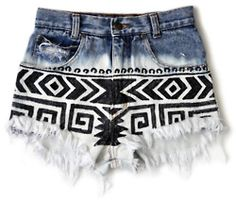 Printed and distressed recycled denim cutoffs <3 me encanta