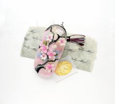 Wet Felted Spring bloom Felt pouch Ready to Ship handmade Perfect Gift under 50 USD by nekoBlueSKY on Etsy