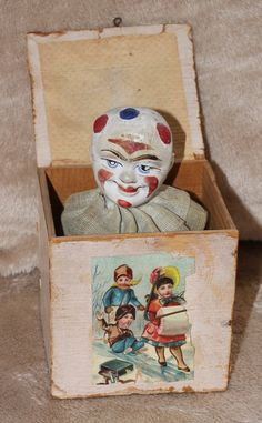 Antique Clown Litho Jack in the Box - all original - Early 1900's