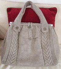 Cable Tote free pattern for the intermediate knitter.