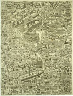 Pirro Ligorio, Map of Rome, Lossi reprint, 1773 (one of twelve parts)
