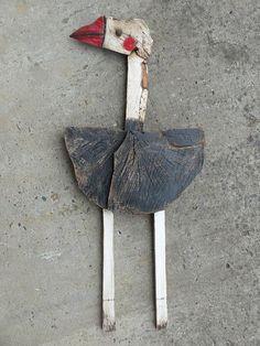 Struzzo - unica, dipinta, rustico scolpito, a mano a mano, appeso a parete originale scultura in legno arte