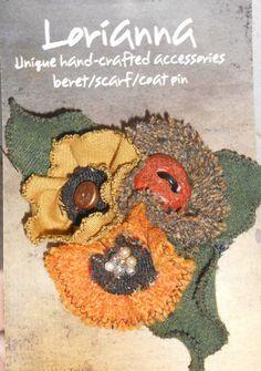 tweed cashmere wool brooch brown cream orange 12 cm flower scarf coat jumper pin