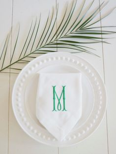Monogrammed Embroidered Dinner Napkins, Egyptian Cotton or Linen Cotton Hemstitched Dinner Napkins - Wedding Keepsake for Special Occasions