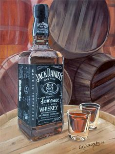 Realistic acrylic painting of a Jack Daniel's bottle by Clare Willcocks