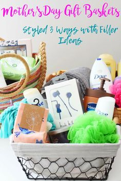 Mother's Day Gift Basket Styled 3 Ways With Filler Ideas- Get excited to make your own Mother's Day Gift Basket with these filler ideas. We have also styled 3 different bags/baskets for inspiration for your Mom.  via @savvysavingcoup #AD #BuyPlantSave2018