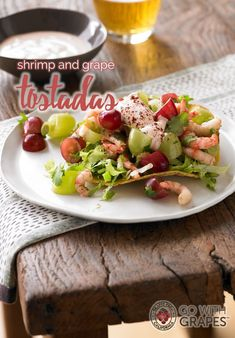 Shrimp and California Grape Tostadas with a dallop of sour cream, lime and chile on top - simply delicious! Go with grapes Grape Recipes, Summer Recipes, Salad Recipes, Seafood Recipes, Mexican Food Recipes, Cooking Recipes, Ethnic Recipes, California Food, Tostadas