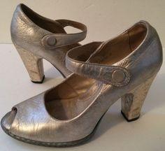 Born Crown Silver Leather Mary Jane Peep Toe Pumps Croc Heel Shoe Size 6.5 #Brn #MaryJanes