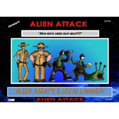 """Alien Agents & Local Lawmen: Alien Attack Expansion!  Law enforcement and aliens unite! This odd bunch of characters are out to rid the world of alien invaders who have been terrorizing mankind. But don't underestimate this motley crew. The sheriff, the deputy, and two alien allies with their """"dog"""" Spot aren't playin' around. They've had enough of this invasion nonsense!"""