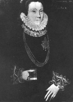Lady Anne Bacon nee Cooke (c. 1528 – 27 August 1610), wife of Nicholas Bacon and lady-in-waiting to Elizabeth I. 51 in 1580. Sometimes attributed to Gower, but this seems unlikely. Sister of Mildred Cook, Lady Burghley, and Lady Hoby.