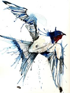 My Swallow Stretched Canvas by Meg Ashford