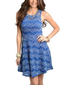 Another great find on #zulily! Blue Floral Sleeveless Dress #zulilyfinds