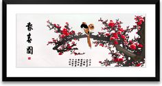 Art of Silk ~ Magpies Welcoming Spring ~ Hand Designed Silk Art, Silk Embroidery