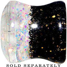 00 Gauge Black Gold White Acrylic Glitter Party Saddle Plug