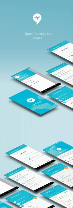 Flights Booking App / Android / Material Design UI on Behance 名刺がアプリデザインになっている。