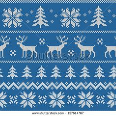 Seamless pattern with imitation of knitted winter sweater design - deer, snowflake and christmas tree, raster illustration by Svetolk, via S...
