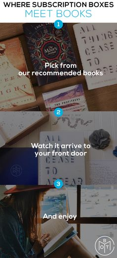 It's book shopping made easy. With Book of the Month's subscription box, the constant search for great, new books is over. No more searching through comments and ratings - our judges do all that for you! Find your next favorite book today.