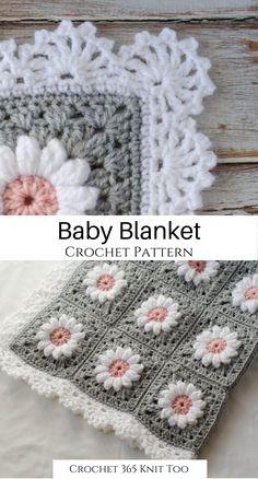 Crochet Blanket Edging, Baby Girl Crochet Blanket, Free Baby Blanket Patterns, Crochet Baby Blanket Free Pattern, Crochet Quilt, Granny Square Crochet Pattern, Crochet Yarn, Crocheted Baby Afghans, Crochet Edging Patterns Free