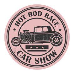 Retro Hot Rod stamp or label, vector illustration photo