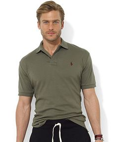 Polo Ralph Lauren Shirt, Classic-Fit Short-Sleeve Cotton Interlock Polo - Polos - Men - Macy\u0026#39;s Color (historic olive) size (xl)