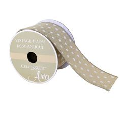 "2.5"" Woven Wired Vintage Blush Polka Dot Ribbon By Celebrate It Aria"