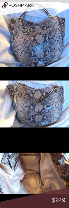 Spotted while shopping on Poshmark: Huge Michael Kors Python Snakeskin  Leather BAG! #poshmark #fashion #shopping #style #MICHAEL Michael Kors #Handbags